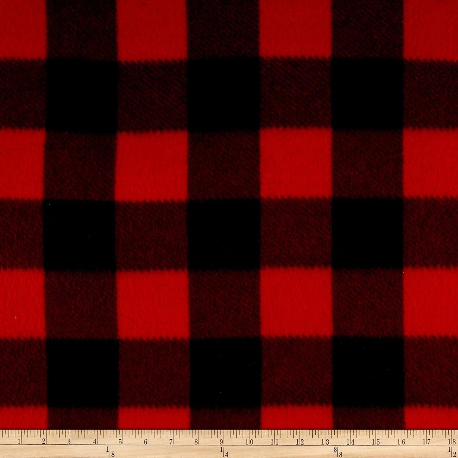Newcastle Fabrics Polar Fleece Kara Check Black/Red Yard 0478653