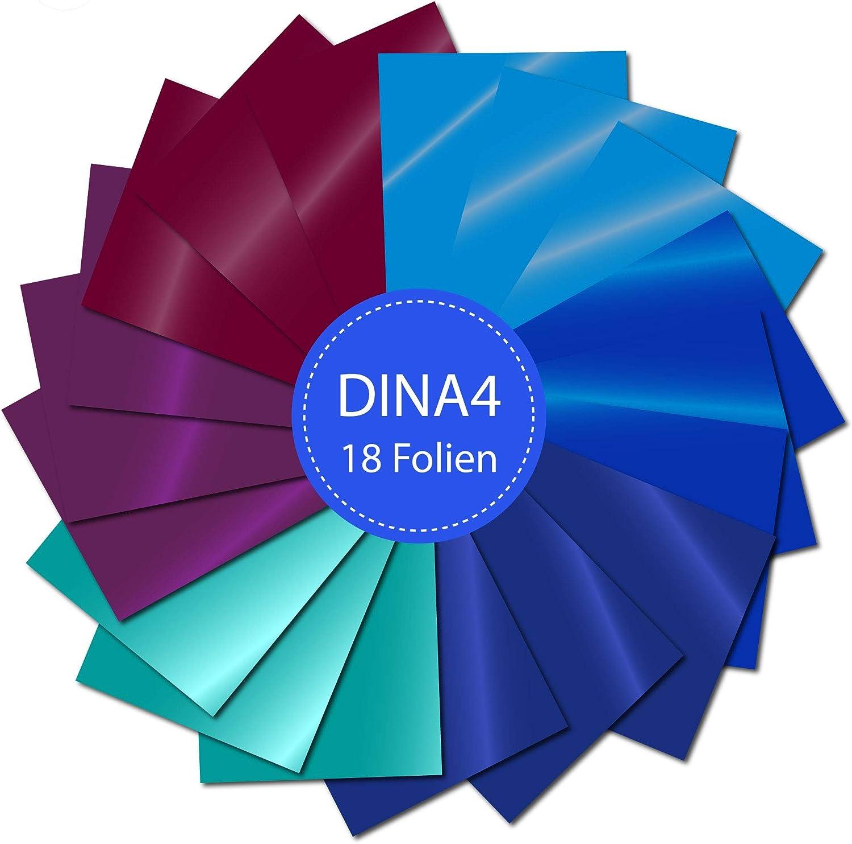 P050 - Láminas para plotter (18 unidades, DINA4 Oracal 751 C, gran rendimiento), color azul, turquesa, púrpura, perfecto para plotten: Amazon.es: Hogar