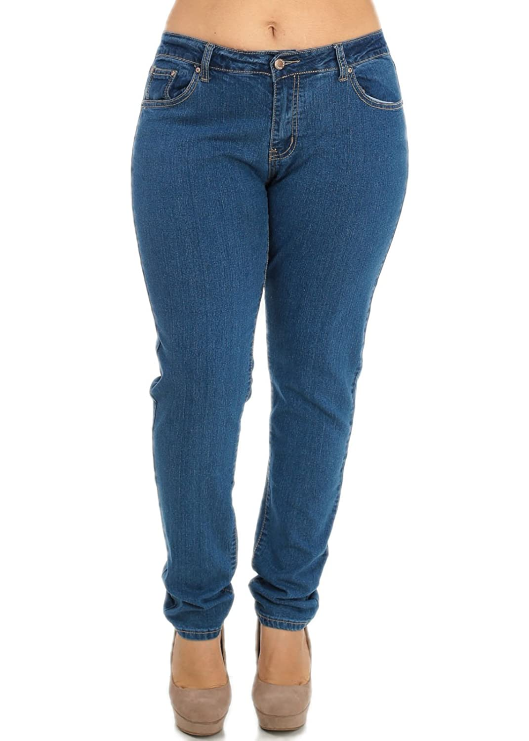 85%OFF Plus Size Cheap Mid Rise Skinny Blue Denim Jeans Jeans ...