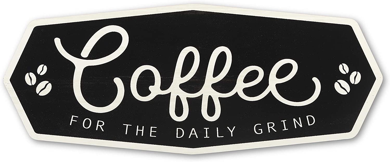 Open Road Brands Coffee Farmhouse Wood Wall Décor - Large 20 Inch x 8 Inch Sign for Kitchen, Office or Coffee Station - Coffee for The Daily Grind