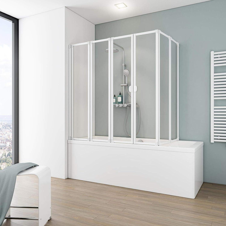 Mampara completa para ducha München de Schulte, 2 x 104 x 140cm, 2 x 3 piezas batientes, distintos tipos de cristal, varios colores de perfil, mampara de ducha cerrada para bañera, 4061164000066: