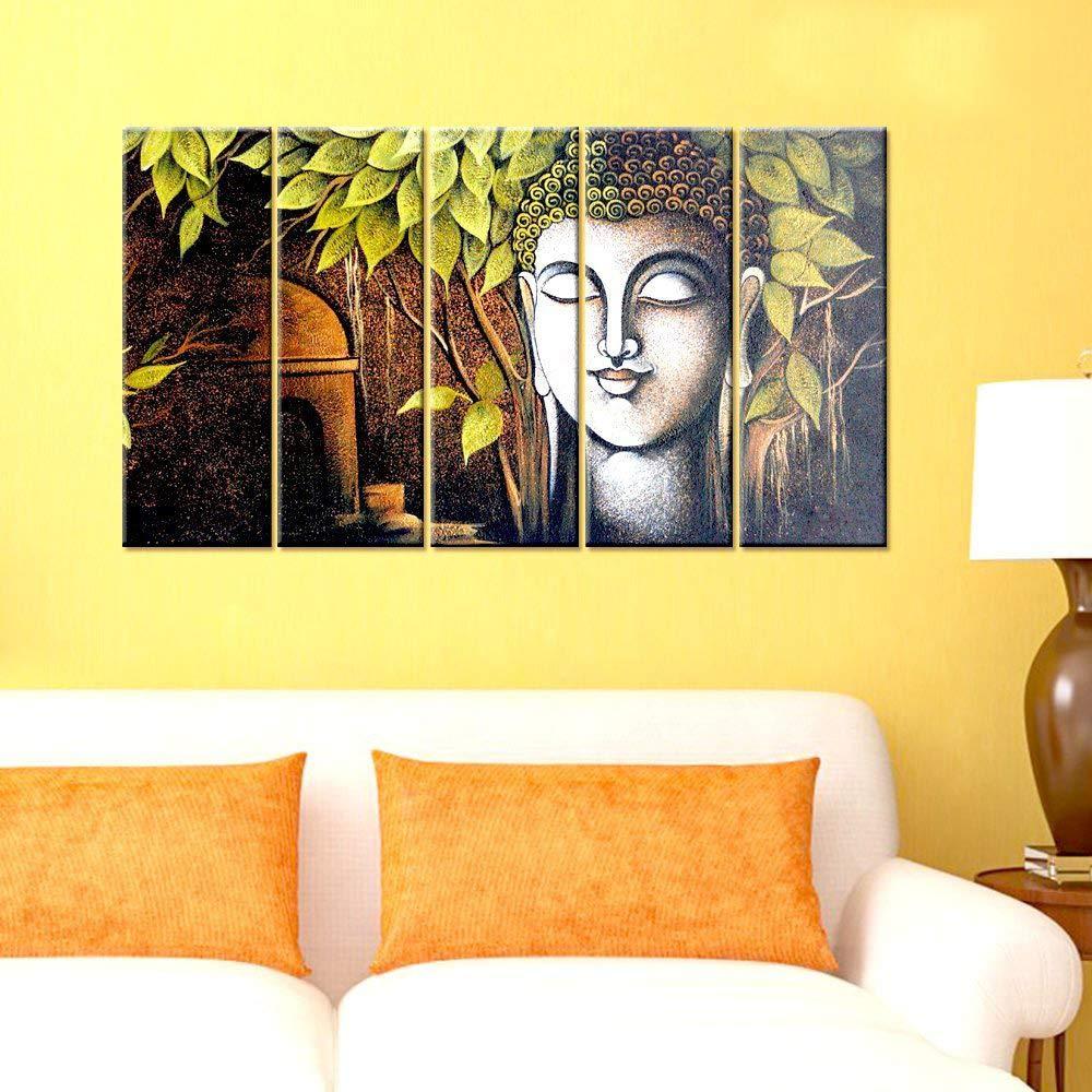 WallMantra Canvas Peaceful Buddha 5 Pieces Printed Wall Hanging ...