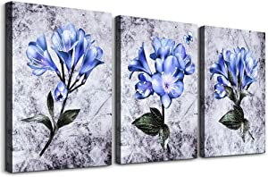 TTHWALLART Canvas Wall Art for Living Room Bedroom Decoration Kitchen Wall Artworks, 3 Piece Bathroom Wall Decor Purple Flowers on Black and White Background Watercolor Painting Pictures Home Decor