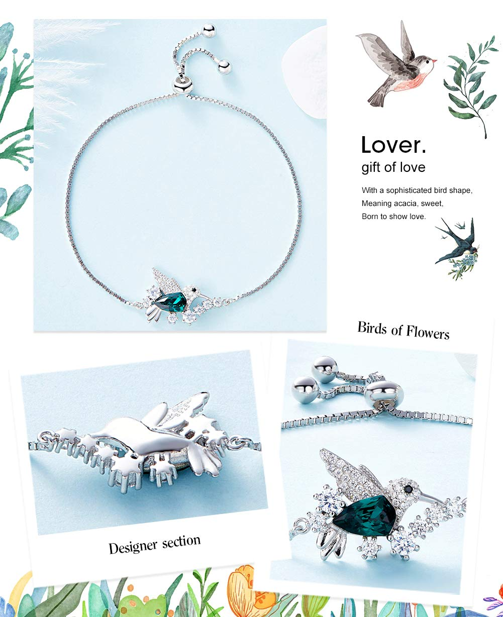 CDE Bracelets for Women, Silver Bracelet Hummingbird Crystal Bangles Charm Jewelry Enriched with Swarovski Crystals by CDE (Image #4)
