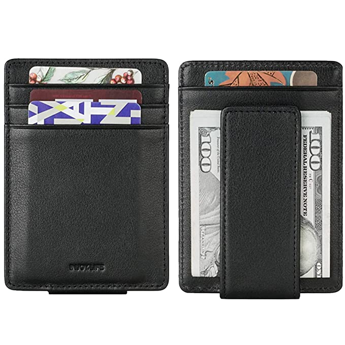 2be8ad97b03f Money Clip, INJOYLIFE Genuine Leather Front Pocket Wallet Strong Magnet  RFID Blocking Card Holder for Mens Women