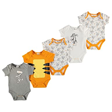 483eb27a91060 Disney Tigger 5 Pack Bodysuit Baby Grey/White/Orange Babies Clothes 6-9  Months: Amazon.co.uk: Clothing