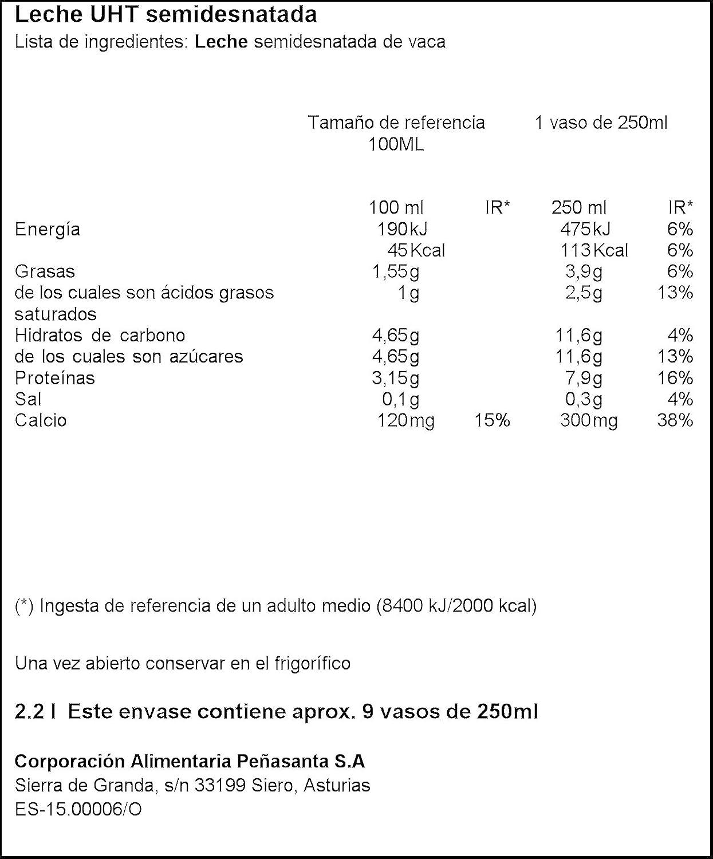 Central Lechera Asturiana - Leche UHT Semidesnatada - Botella 2,2 L: Amazon.es: Alimentación y bebidas