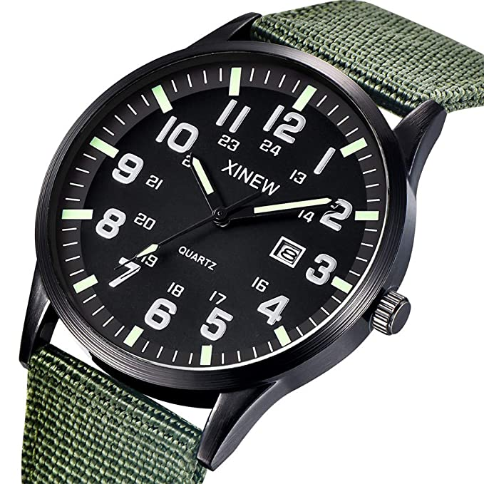 Amazon.com : XBKPLO Quartz Watches Mens Fashion Waterproof Analog Wrist Watch Calendar Window Luminous Nylon Strap Business Watch Jewelry Gift (Green) ...