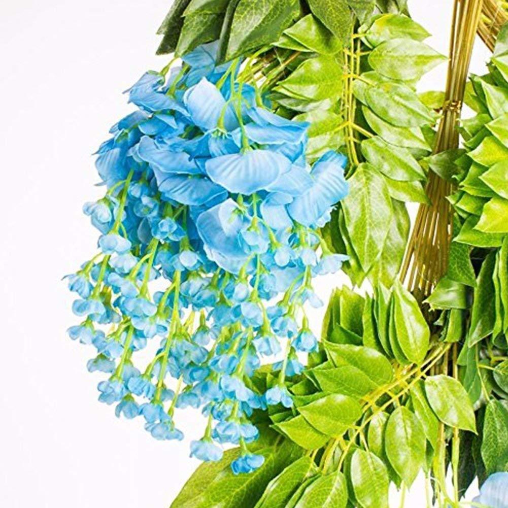 Soie Artificielle glycine Vigne Ratta Suspendus Fleur pour la d/écoration de Mariage Bleu 12 Pcs