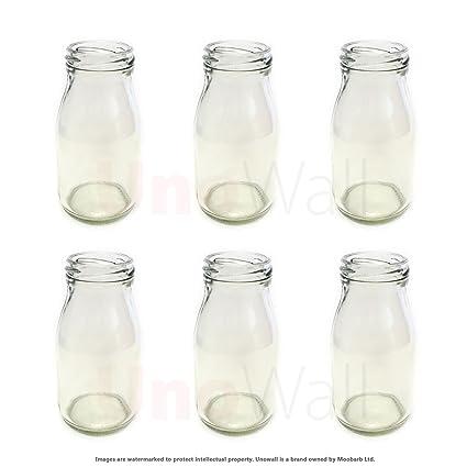 Juego de 6 botellas de cristal Classic Mini - Funky, diseño retro - ideal para
