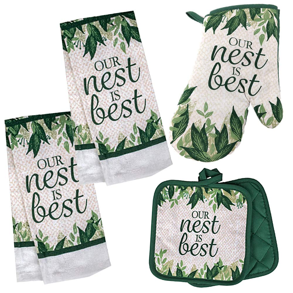 'Our Nest is Best' Sentiment Kitchen Towel Set with 2 Quilted Pot Holders, 2 Dish Towels and 1 Oven Mitt 71VKYzMIOyL
