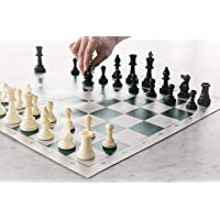 "Kids Mandi 17"" x 17"" Tournament Chess Set with Plastic Filled Chessmen and Green Roll-up Vinyl Mat"