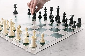 Kids Mandi 17 x 17 Tournament Chess Set with Plastic Filled Chessmen and Green Roll-Up Vinyl Mat
