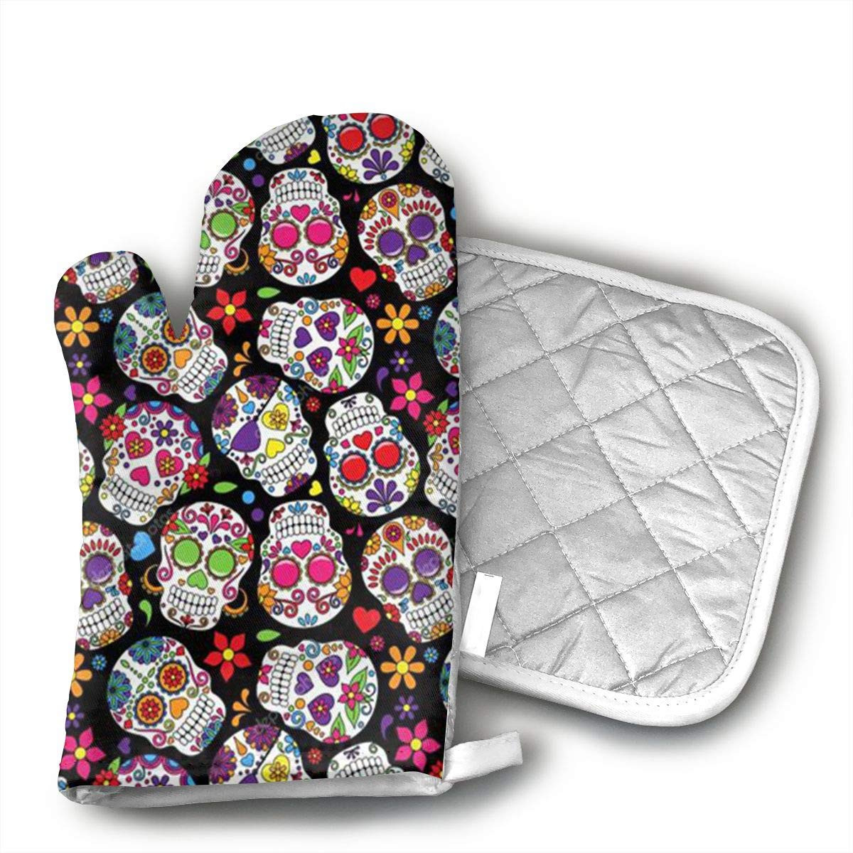 Ubnz17X Dead Sugar Skulls Oven Mitts and Pot Holders for Kitchen Set with Cotton Non-Slip Grip,Heat Resistant