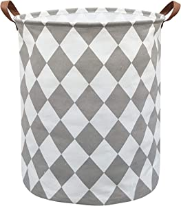 Sanjiaofen Laundry Hamper,Canvas Fabric Laundry Basket,Collapsible Storage Bin Waterproof Toy Organizer Bin for Home,Office, Bedroom, Clothes,Toys,Clothes Hamper(Rhombus)