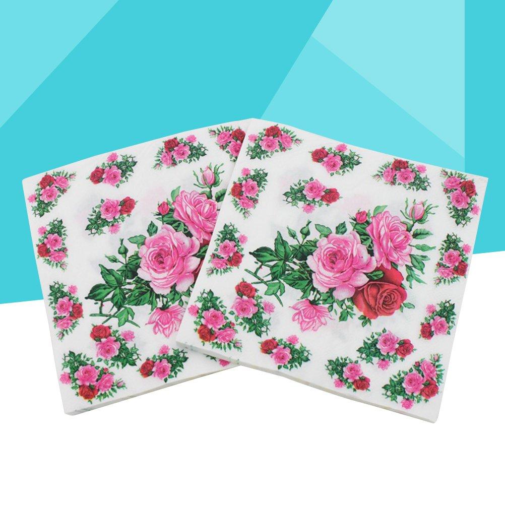 BESTONZON 60 piezas Servilleta de papel Flor Servilleta de flores Impresas florales Servilletas para el aniversario de la boda Baby Shower Cena (25x25cm): ...