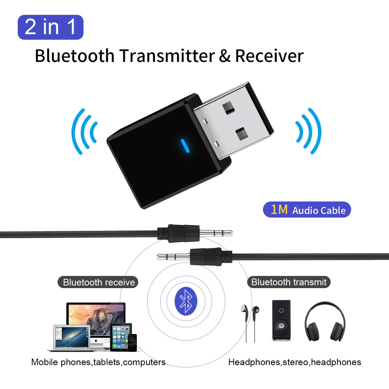 DishyKooker 5.0 Blue-Tooth Transmitter Receiver Mini 3.5mm AUX Stereo Wireless Blue-Tooth Adapter for Car Music Blue-Tooth Transmitter for TV