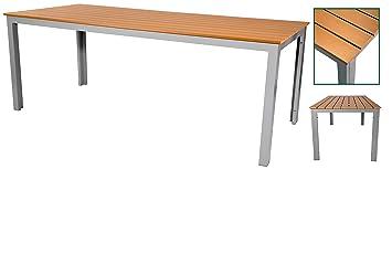 Gartentisch alu 200  Amazon.de: Gartentisch 200 x 90 x 75 cm teakbraun Alu Aluminium ...