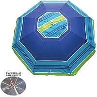 Parasol de plage en polycoton, diam. 200 cm, parasol de plage portable avec housse avec bandoulière, parasol de plage Ø 2 m coloré Positano/3, parasol en acier baguettes 3,5 mm, intérieur anti-UV