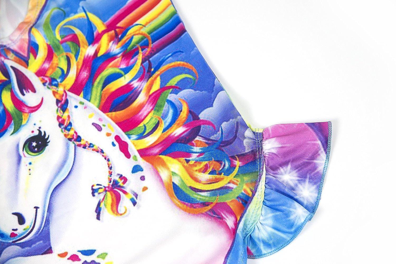 Wenge Girls Bathing Suits Bikinis Rainbow Unicorn Swimsuits One Piece Swimwear