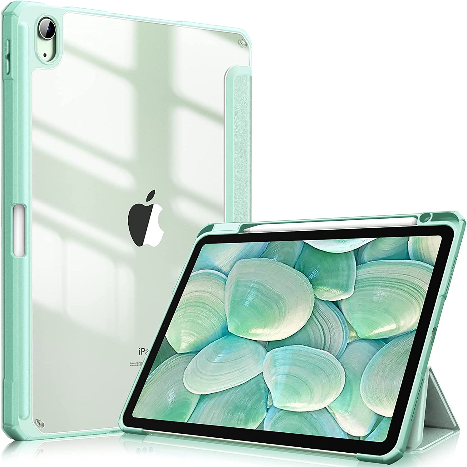 Fintie Hybrid Slim Case for iPad Air 4th Generation 2020 - [Built-in Pencil Holder] Shockproof Cover with Clear Transparent Back Shell, Auto Wake/Sleep for iPad Air 4 10.9 Inch, Green
