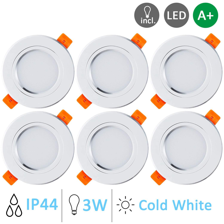 Gr4tec Faretti LED da incasso per cartongesso 6 /× Luci da Incasso Plafoniere LED Soffitto con Trasformatore Luce Bianco Caldo 3W IP44 2700K 300LM Angolo a Fascio 120 Gradi AC 85-265V