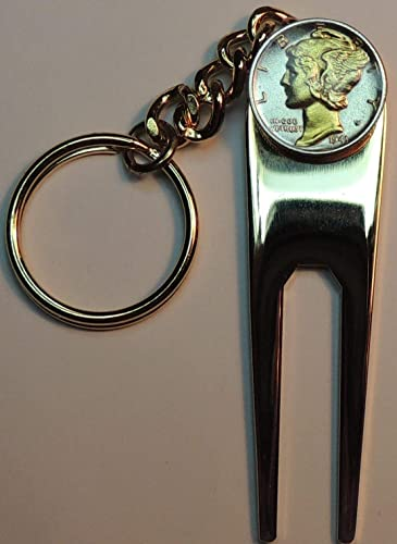 handmade in the USA Silver Mercury Dime key ring