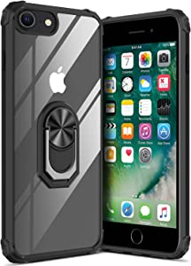 GREATRULY Kickstand Case for iPhone SE 2020 / iPhone SE2 / iPhone 8 / iPhone 7,Drop Protection Clear Case,Slim Phone Cover Shell,Soft Bumper + Hard Back + Ring Stand Fits Magnetic Car Mount,Black