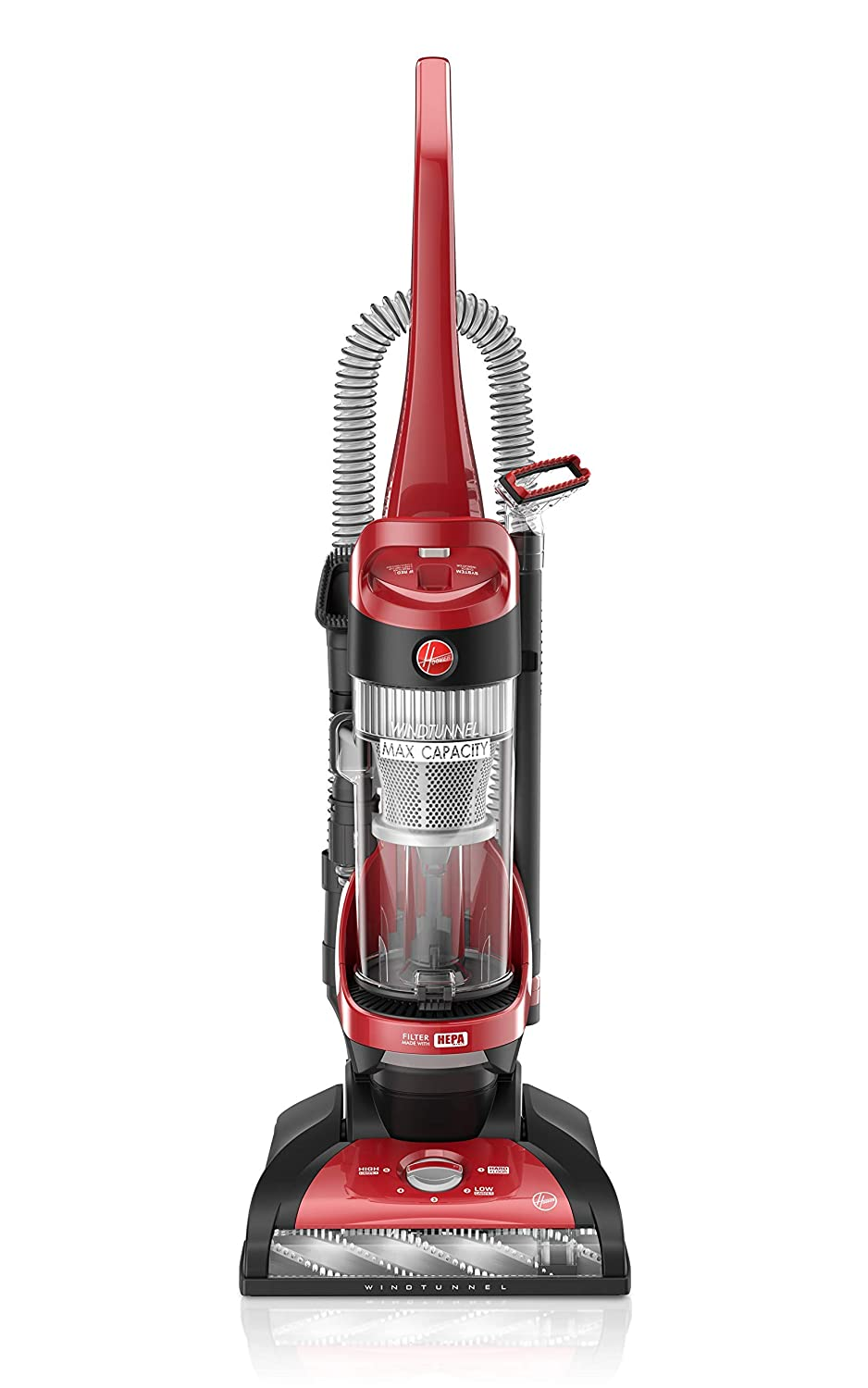 Hoover Windtunnel Max Capacity Upright Vacuum Cleaner with HEPA Filter, UH71100, Red (Renewed)