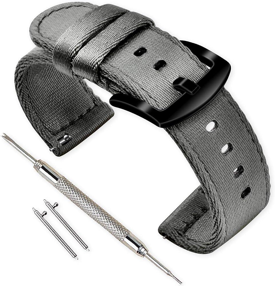 Vinband Correa Reloj Calidad Alta Nylon Correa Relojes - 18mm, 20mm, 22mm, 24mm Correa Reloj con Hebilla de Acero Inoxidable (20mm, Gris): Amazon.es: Relojes