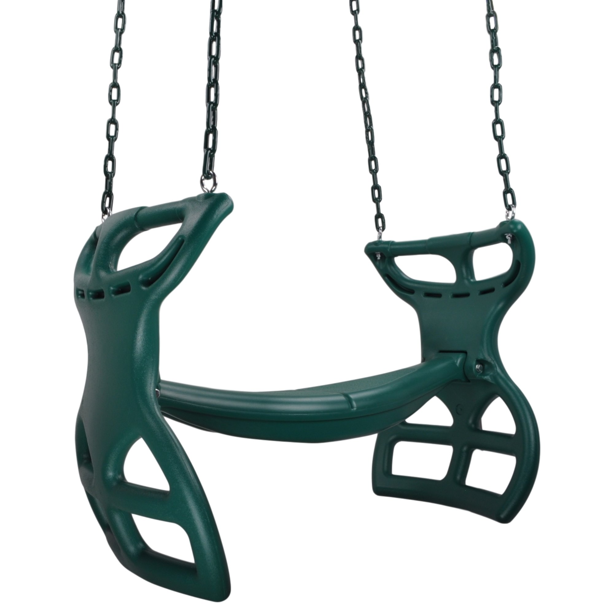 Swing Set Stuff Inc. Glider with Coated Chains & SSS Logo Sticker Playground Attachment, Green