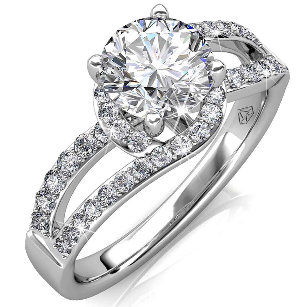 5558721ed78be Amazon.com: FAPPAC Split Shank Ring Band Enriched with Swarovski ...
