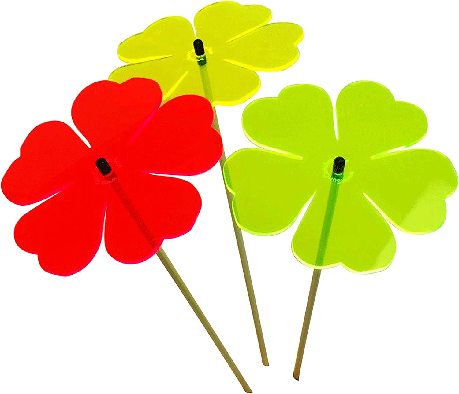 Suncatcher Garden Ornaments Double Blossom, Set of 3 Large Decorative Garden Stakes, Outdoor Yard Accessory, Great Gardeners Gift, Colour:red/Yellow/Green