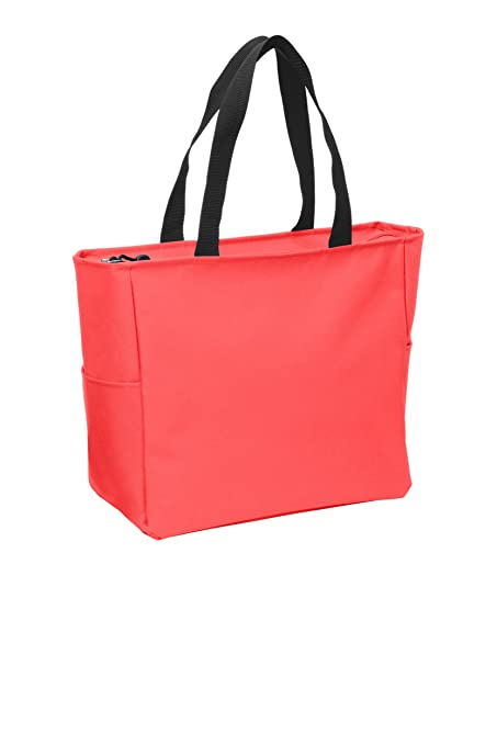 e0a27f429 Amazon.com: Essential Zip Tote Polyester Canvas Tote Bag with Zipper Top  Closure and Two end pockets (1, Hibiscus): Kitchen & Dining