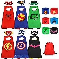 Jojoin 6 Pcs Capas de Superhéroe para Niños, Disfraces de Superhéroe para Niños, Kit de Cosplay para Niños con 6…