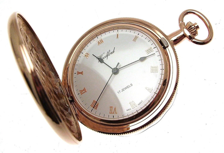 Gravur Rose Gold Teller Mechanische 17 Juwel Hand Wunde Taschenuhr 1099991