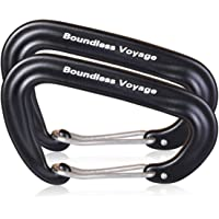 Boundless Voyage 2/6 Pack Carabiner Clip Aluminum Alloy Heavy Duty Locking D-Type Clips Light but Strong Hook Pefect for Hammocks Outdoor Camping Climbing Hiking Traveling Fishing Backpack BV1026