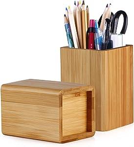 Pen Holder, Bamboo Wood Desk Pen Pencil Holder Stand Multi Purpose Use Pencil Cup Pot De Wood Desk Pen Pencil Holder Stand Multi Purpose Use Pencil Cup Pot Desk Organizersk Organizer (Bamboo)