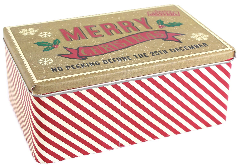 Carousel Home Rectangular Vintage Christmas Baking Cookie Biscuit Storage Tin