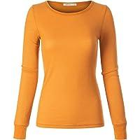 Instar Mode Women's Plain Basic Round Crew Neck Thermal Long Sleeves T Shirt Top