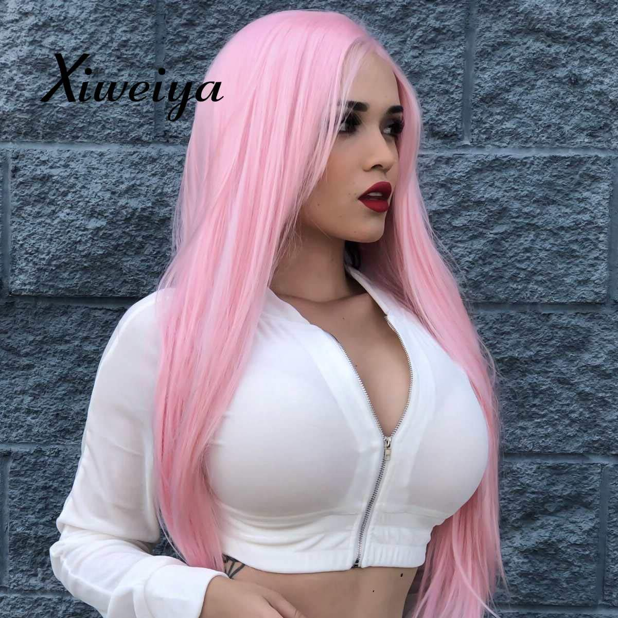 Xiweiya Synthetic Lace Front Wigs With Heat Resistant Fiber White, Light Blonde, Blonde, Pink, Mix color pink color wig for women, drag queen silky straight hair replacement wig (Pink) by xiweiya
