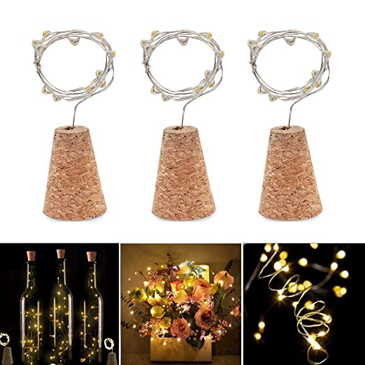 LED para Botellas Wine Bottle Lights LED Corcho Real IP65 Impermeabiliza 76 cm Alambre Cobre para