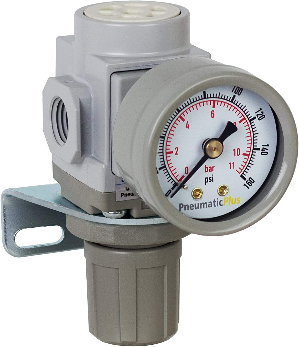 3-60 PSI Bracket Low Pressure PneumaticPlus PPR2-N02BG-4 Miniature Air Pressure Regulator 1//4 NPT Gauge