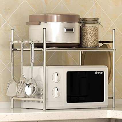 Cocina Microondas Horno Rack, acero inoxidable Rice Cooker Sola historia Horno Rack Spice Rack,