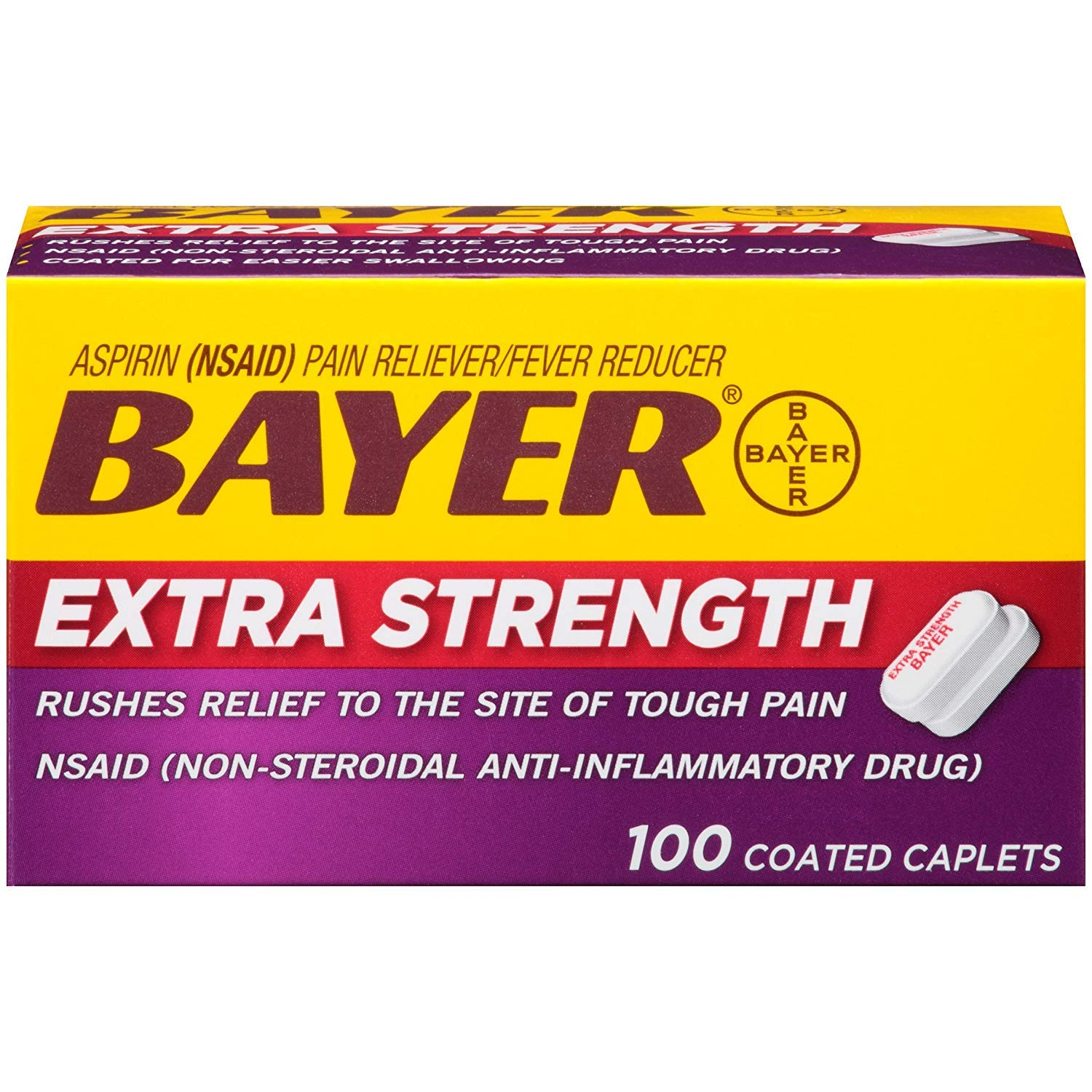 Bayer Extra Strength Aspirin Caplets - 100 Coated Caplets, Pack of 6 by Bayer