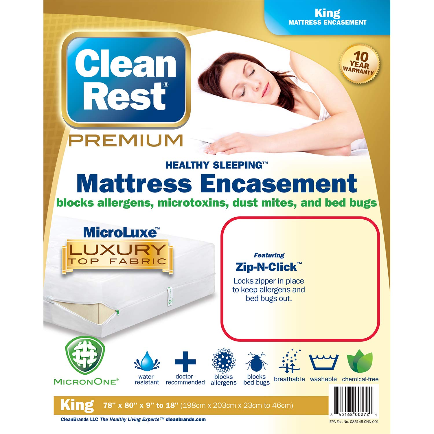 Clean Rest Premium Water-Resistant, Allergy and Bed Bug Blocking Mattress Encasement, King