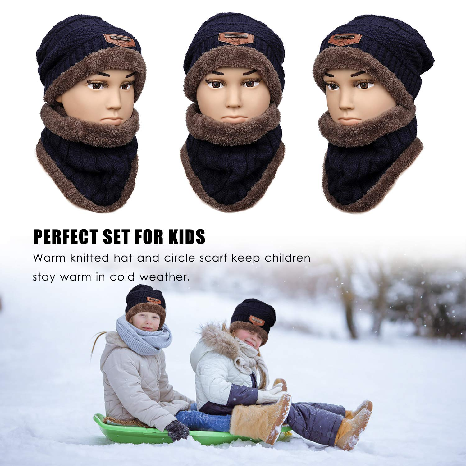 Kids Beanie Hat and Circle Scarf Set Winter Warm Skiing Hat Stretchy Knitted Beanie Cap Including Neck Warmer Fit for 5-12 Years Boys Girls Navy Blue