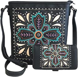 c0e6f8bb8 American Bling Concealed Gun Messenger Purse Wallet Set Embroidered Flower  Black