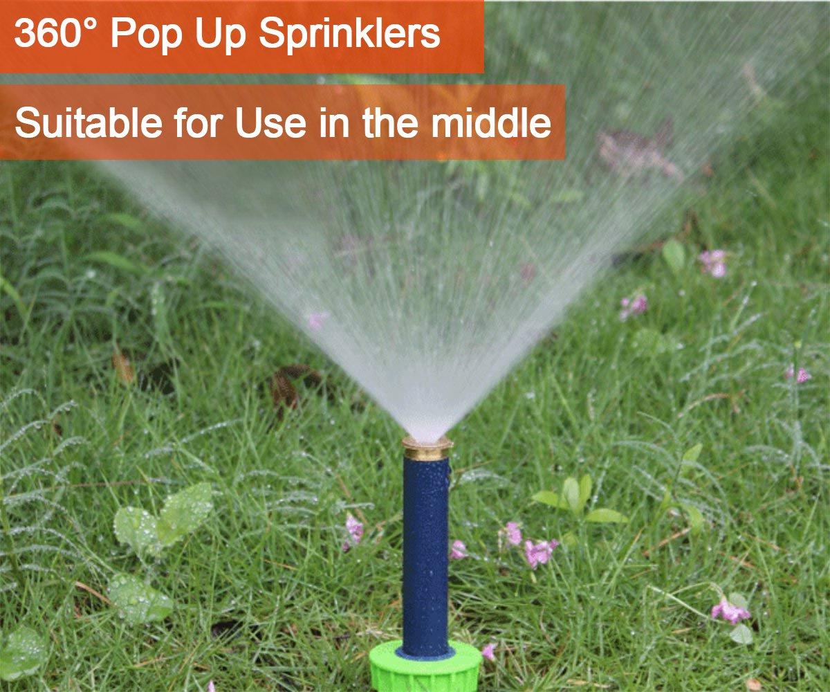 KORAM 4 Pop-up Sprinkler Heads Fully Adjustable Pattern 0/° to 360/° Spring-Loaded Sprinkler Nozzle for Irrigation Watering System Lawn Yard Garden Park Planter Flower Beds 4-Pack