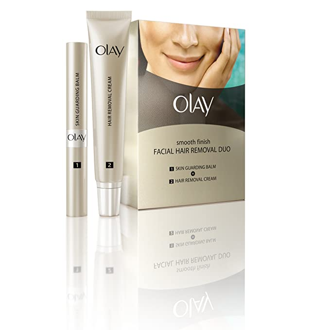 Olay Duo - Kit de crema depilatoria facial, acabado suave, para vello de fino a medio, 1 kit: Amazon.es: Belleza